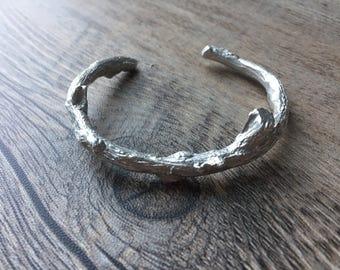 Sterling Silver Handcrafted Branch Cuff Bracelet
