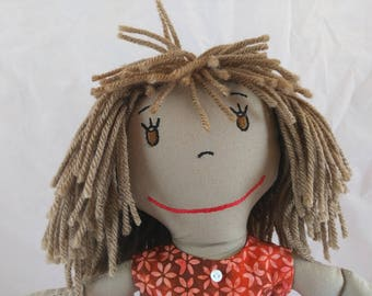 Lovable Rag Doll, embroidered face, mop of light brown hair,Removable Clothes,Rag Doll,Fabric Doll, Stuffed Doll,Plush Doll