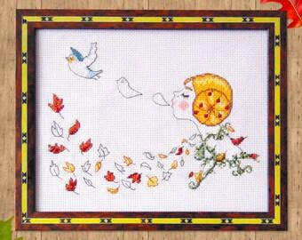 Autumn Cross Stitch Pattern- Vintage Cross Stitch- Instant Download- Retro Cross Stitch- Cute Cross Stitch