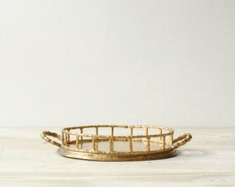 Vintage Brass Tray, Brass Bamboo Tray, Vanity Tray