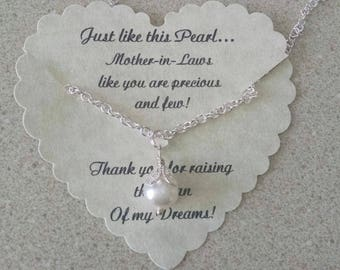 Mother Of The Bride Gift From Bride, Thank You For Raising The Man Of My Dreams, Mother Of The Groom, Pearl Necklace, Mother In Law Gift