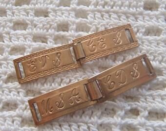 Vintage Bracelet Links Monogrammed Forget Me Not Friendship Plaques