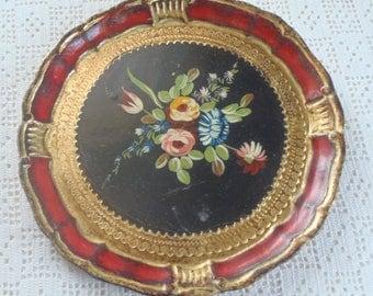 Vintage Tray Florentine Tole Floral Design