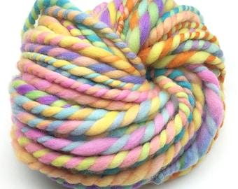 Super bulky handspun yarn, 30 yards and 2.8 ounces/ 81 grams, spun in hand dyed merino wool
