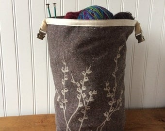 Trundle Bag- Pussy Willow Design, Roll Down Top Knitting Project Bag
