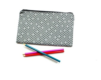 Slim cosmetic bag zipper pouch, grey black white, makeup bag gift for her, pencil case