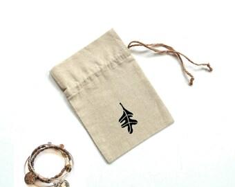 Linen gift bag, 5 x 7 inch bag, Autumn leaf bag, party favor bag, Autumn party bridesmaid gift bag, jewelry travel bag