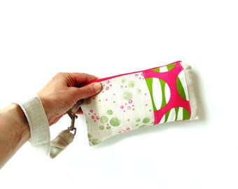 Summer wristlet clutch, casual, girls purse, wristlet bag, cell phone bag, cute wristlet,  clutch bag, handbag, slim bag, pink lime green