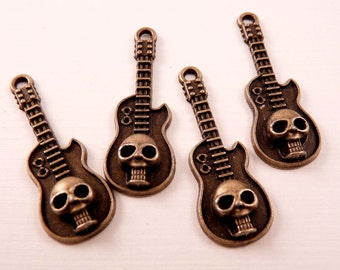 Guitar Charms Skull Charms Brass Skull Beads Brass Findings Guitar Beads Brass Beads