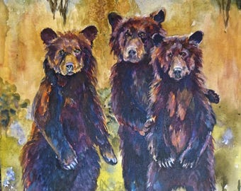 3 Bears Art Print by Maure Bausch