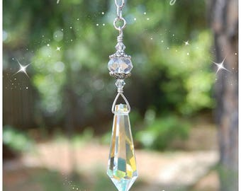 Hanging Teardrop Crystal Suncatcher, Rearview Mirror Car Charm, Ceiling Light Pull, Fan Pull Chain Attachment, Prism, Rainbow Maker