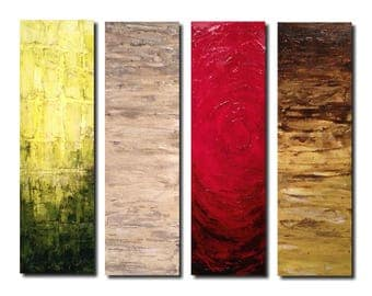 Large abstract painting oil paintings by JMJartstudio- yellow - world apart -- PALLET KNIFE   textured modern 4  Piece 24 Inches X 32 custom
