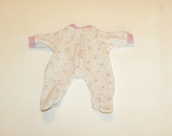 White Patterned Footed Sleeper - 12 inch doll clothes