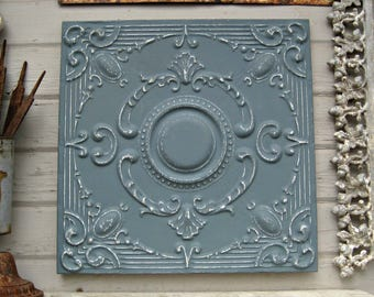 Antique Ceiling Tin Tile. Michigan architectural salvage. Vintage pressed tin panel. Dresden blue wall art.