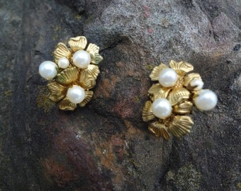 Miriam Haskell Gold and Pearl Screw Back Earrings