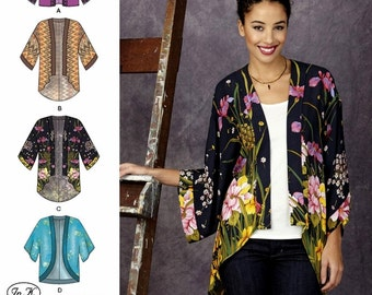 Kimono Jacket Pattern, Open Front Loose Fit Jacket Pattern, Sz 4 to 26, Simplicity Sewing Pattern 1318