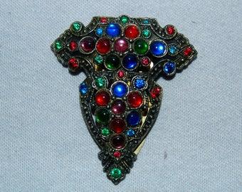 Vintage / Large / Dress Clip / Multicolor / Rhinestone / old jewelry