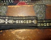 Tattered Fabric Ribbon  Vintage Singer Sewing Logo Black with Gold accents