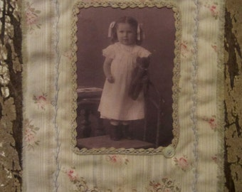 Vintage Lace Tattered Roses  Mini Quilt Collage  Girl with her Teddy Bear