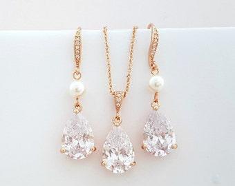 Rose Gold Bridal Set, Wedding Jewelry Set for Bridesmaids, Rose Gold Earring Necklace Set, Dangle, Crystal Pearl Bridal Set , Clara Set