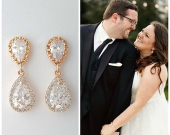 Rose Gold Bridal Earrings Wedding Jewelry Cubic Zirconia Rose Gold Crystal Teardrop Wedding Earrings Rose Gold Pendant Pink Gold, Emma