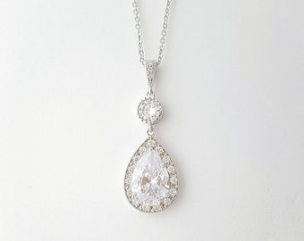 Wedding Necklace Crystal Bridal Necklace Large Cubic Zirconia Teardrop Silver Pendant Bridesmaid Necklace Wedding Jewelry, Evana