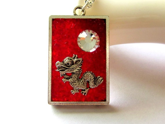 Red Dragon Necklace, Year of the Dragon, Stained Glass Pendant, Chinese New Year Gift, Custom Dragon Jewelry
