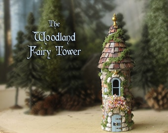 The Woodland Fairy Towers of The Bewildering Pine - Miniature Enchanted Stone Tower w/ Window Box, Mossy Tile Roof, Wooden Door and Finial