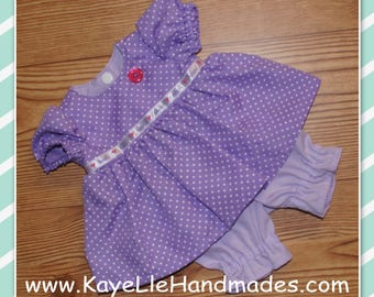 14 - 16 inch Baby Doll Clothes - Dress with Pants - Purple with White Dots