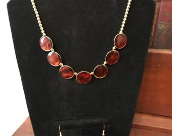 Amber Enamel Buttons Jewelry Set