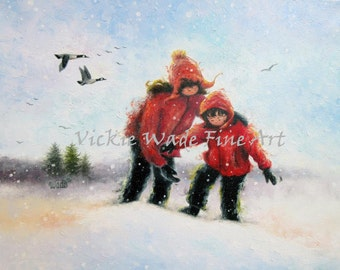 Two Sisters ORIGINAL Painting 14X18, two girls snow, two snow children,paintings, snow painting, snow girls, red coats, Vickie Wade Art