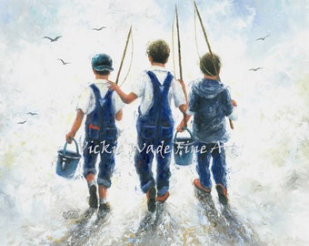 Three Boys Fishing Art Print, three brothers, paintings, going fishing, navy blue boys room wall art, farm boys, country boys,  Vickie Wade