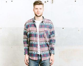Aztec Shirt . Mens SOUTHWESTERN Blue Striped Shirt Flannel Jacket Button Down . size XL