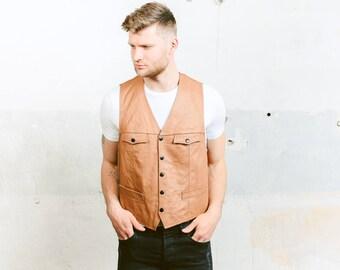 1970s LEATHER Vest . Vintage 70s Brown Waistcoat Men's Sleeveless Jacket Cowboy Western Brown Biker Vest . size Medium