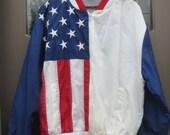 VTG STARS and  STRIPES manufacturing nylon  American  Flag Stars & Stripes Jacket/ Windbreaker   Size M usa made