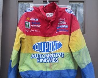 Vintage Chase Authentic Nascar Jeff Gordon tie dyed rainbow Jacket Dupont Automotive Finishes     nascar good condition