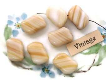 Vintage Glass Beads,Czech beads,Cream beads,Marble czech ,White Nugget beads,Swirl White Shabby Chic Rectangle Rare Cottage Chic #1103B