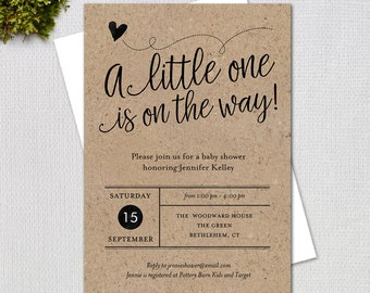 Rustic Baby Shower Invitation,  Fancy Script Gender Neutral Kraft Paper Printable Digital Invitation, #1234