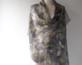 Silk scarf Grey scarf plant print scarf Grey silk scarf women Leaf pattern printed botanocal scarf Eco dye silk scarf handpainted