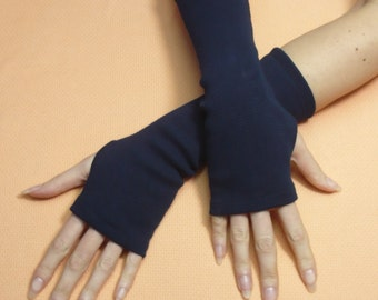 Classic Jersey Armwarmers in Navy Blue, Fingerless Gloves, Dance, Streetwear, Women Sleeves with Thumb Holes, Funky, Spring