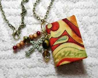 Handmade Book Necklace - Book Jewelry - Book Pendant - Book Journal - Handmade Book - BN-193