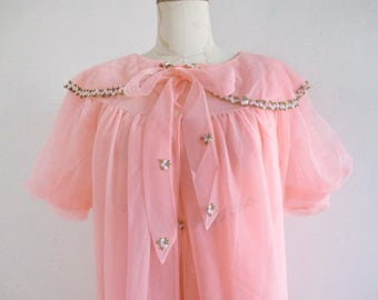 Peignoir Coral Short Robe and Gown by Canadian Maid Vintage