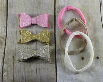 Pink and Gold DIY Baby Headband Kit, Makes 3 Headbands,  Baby Shower Station, Baby Headbands, DIY Headbands, Easy Headband Making Kit