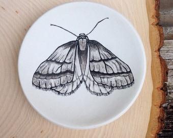 Ring Dish, jewelry dish, polymer clay dish, November Moth, Entomology, Birthday Gift, Mom Gift Mom, Wedding Gift, Engagement Ring Dish, Moth