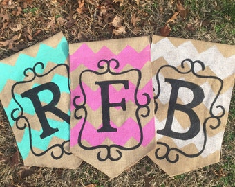 Burlap Yard Flag Chevron Scroll and Initial Choose your color Fall summer porch Decor