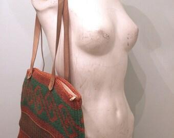 20% OFF SALE vintage. 80s X Large Woven Bag   //  Tribal Boho