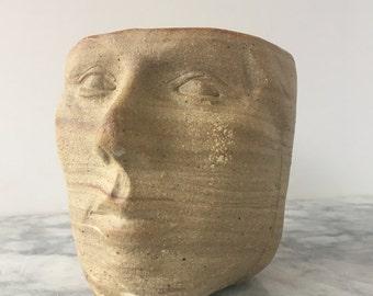 Marbled Face Cup Vase Vessel Head Sculpture Ikebana Pot Ceramic Art Mug Yunomi