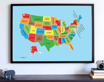 Housewarming Gift United States Map USA State Capitals - Usa map with state