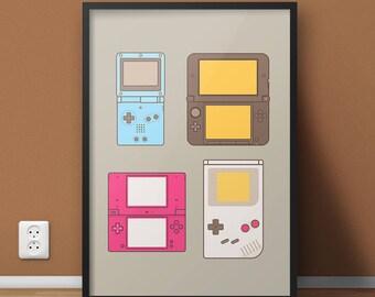 Video Game Poster, College Dorm Video Game Art, Super Mario Nintendo Gameboy Game Print, Nintendo Lover Locker Poster, Man Cave Video Gamer