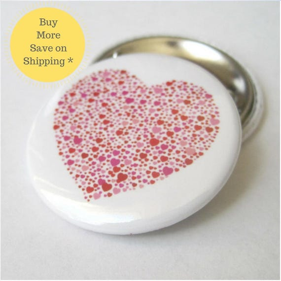 Heart made up of Hearts Pinback Button Badge, pins for backpacks, Pinback Button gift, Button OR Magnet - 1.5″ (38mm)